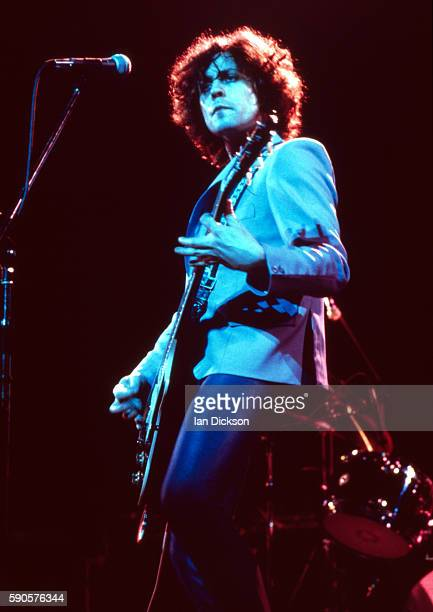 Marc Bolan of TRex performing on stage at Rainbow Theatre London 18 March 1977