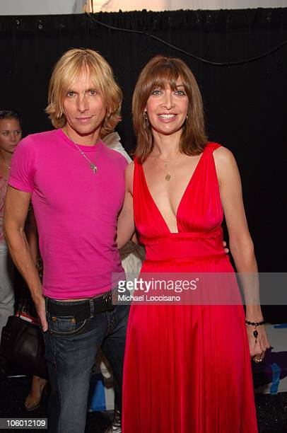 Marc Bouwer and Illeana Douglas during Olympus Fashion Week Spring 2007 Marc Bouwer Backstage in New York City New York United States