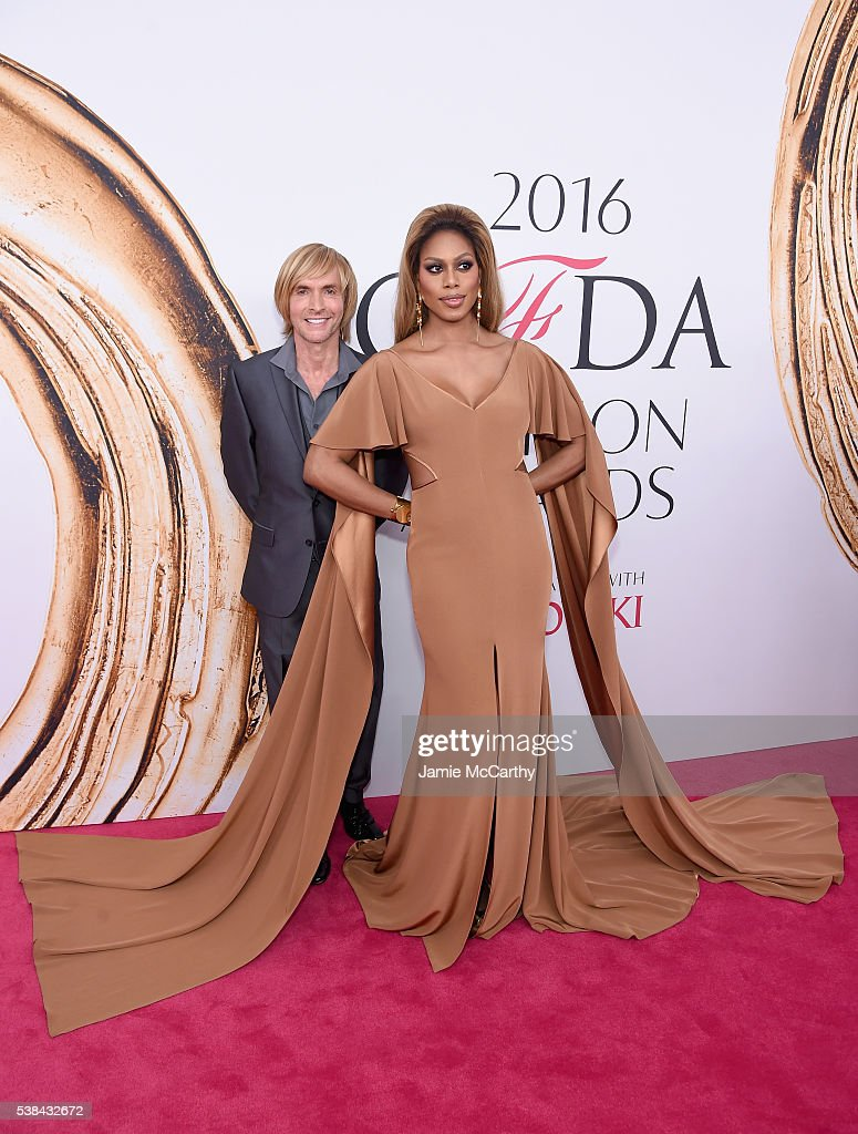 Marc Bouwer and Laverne Cox attend the 2016 CFDA Fashion Awards at the Hammerstein Ballroom on June 6 2016 in New York City