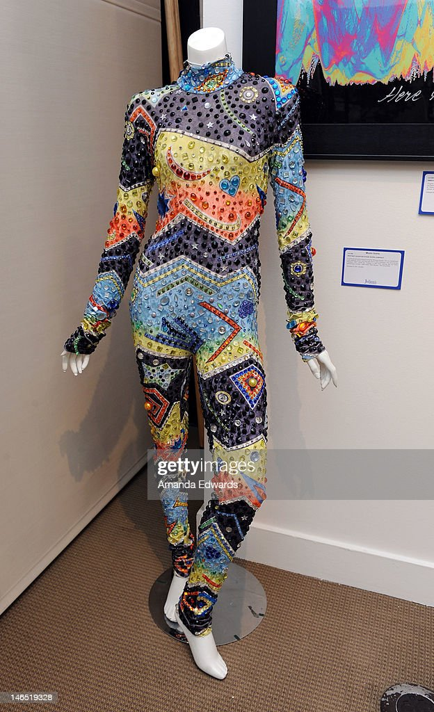 A Marc Bouwer jumpsuit worn onstage by singer Whitney Houston is displayed at the Julien's Auctions press call for Music Icons And Sports Legends Memorabilia Auction at Julien's Auctions Gallery on June 18, 2012 in Beverly Hills, California.