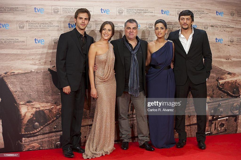 Marc Clotet actress Maria Leon director Benito Zambrano actress Inma Cuesta and actor Daniel Holguin attend 'La Voz Dormida' premiere at the Kursaal...