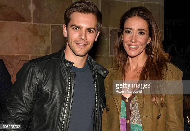 Marc Clotet and Elsa Anka attend the front row of Custo Barcelona show during the Barcelona 080 Fashion Week Autumn/Winter 2016/2017 at Casa Llotja...