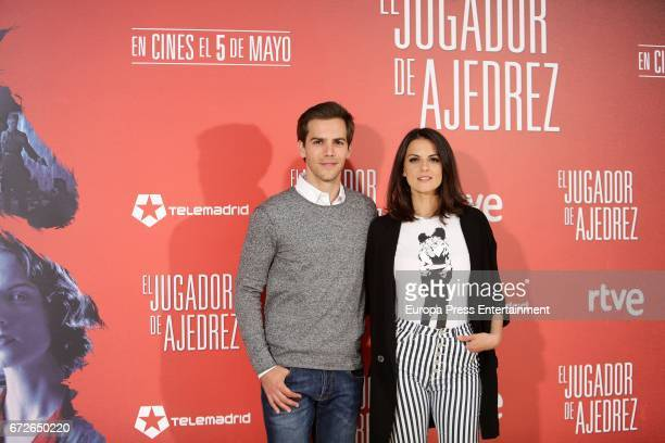 Marc Clotet and Melina Matthews attend the 'El Jugador de Ajedrez' photocall at Princesa cinema on April 24 2017 in Madrid Spain