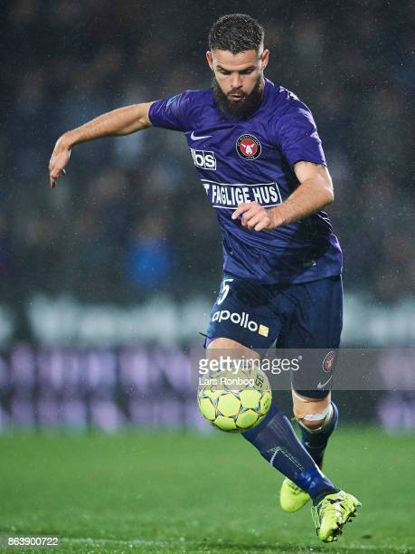 Marc Dal Hende of FC Midtjylland controls the ball during the Danish Alka Superliga match between FC Midtjylland and AC Horsens at MCH Arena on...
