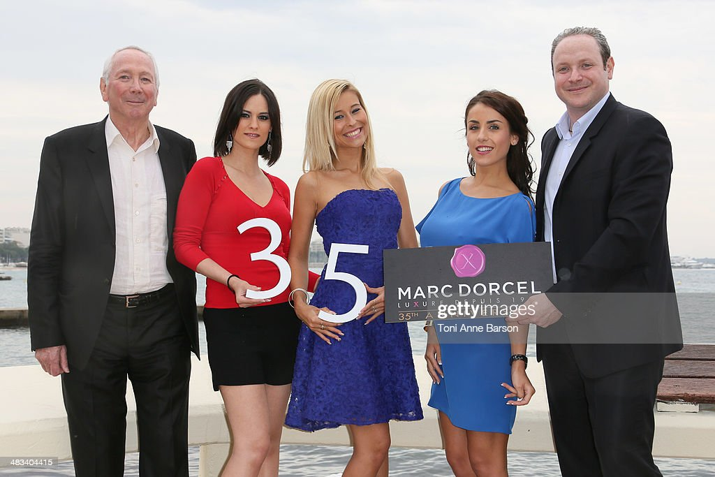 Marc Dorcel, Claire Castel, Lola Reve, Jade Laroche and Gregory Dorcel attend photocall for DORCEL 35th Anniversary at MIPTV 2014 at Hotel Majestic Jetty on April 8, 2014 in Cannes, France.