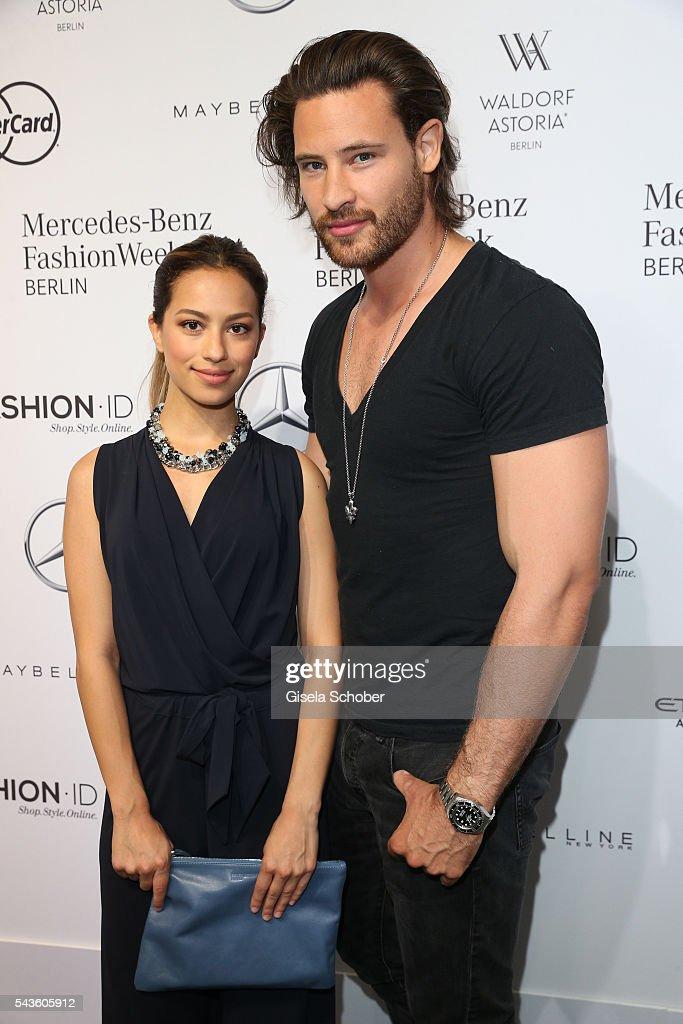 Marc Eggers and Kiki Glueck attend the Minx by Eva Lutz show during the MercedesBenz Fashion Week Berlin Spring/Summer 2017 at Erika Hess Eisstadion...