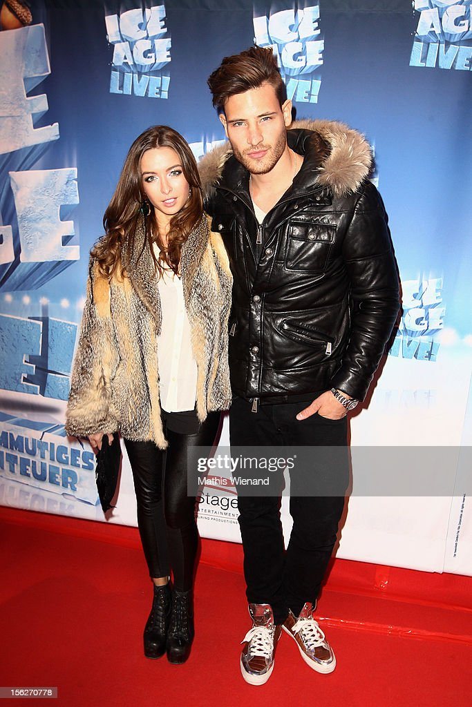 Marc Eggers and Kyra Kuklies attend the Ice Age Live! gala premiere at ISS Dome on November 12, 2012 in Duesseldorf, Germany.