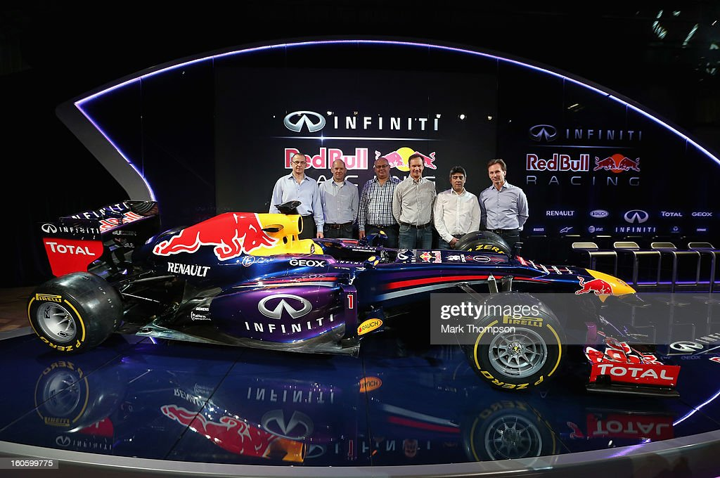 Marc Ellis, Chief Engineer Vehicle Dynamics, Adrian Newey, Chief Technical Officer, Rob Marshall, Chief Designer, Paul Monaghan, Head of Engineering, Peter Prodromou, Head of Areodynamics and Christian Horner, Team Principle pose with the new car during the Infiniti Red Bull Racing RB9 launch on February 3, 2013 in Milton Keynes, England.