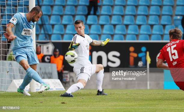 Marc Endres and Goalkeeper Kevin Kunz of Chemnitz keep the goal clean during the 3Liga match between Chemnitzer FC and FSV Zwickau at community4you...