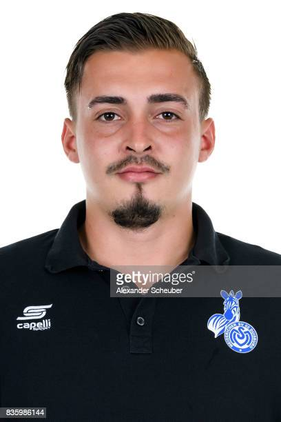 Marc Ernzer of MSV Duisburg poses during the Allianz Frauen Bundesliga Club Tour at MSV Duisburg on August 17 2017 in Duisburg Germany