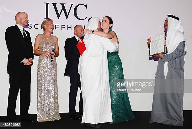 Marc Forster Karoline Huber IWC Brand Director Middle East Georges Kern CEO IWC Emily Blunt Award winner Abdullah Al Boushehri and DIFF Chairman...