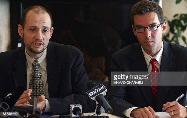 Marc Garlasco a senior military expert for USbased organization Human Rights Watch and Bill Van Esveld a researcher for the group hold a press...