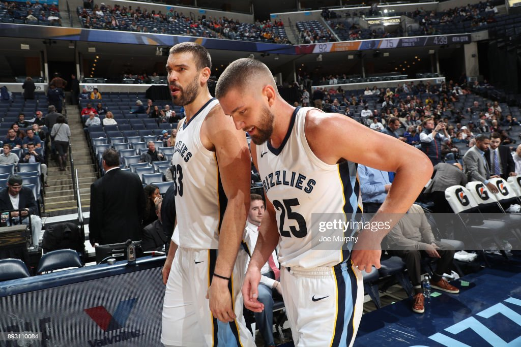 Marc Gasol #33 and Chandler Parsons #25 of the Memphis Grizzlies during the game against the Miami Heat on December 11, 2017 at FedExForum in Memphis, Tennessee.
