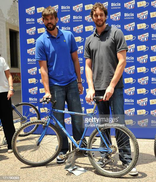 Marc Gasol and Pau Gasol delivery 150 bicycles of 'San Miguel 00' for a charity cause on June 27 2013 in Barcelona Spain