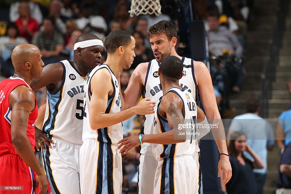 Marc Gasol #33 and the Memphis Grizzlies huddle up during the game against the Los Angeles Clippers in Game Three of the Western Conference Quarterfinals during the 2013 NBA Playoffs on April 25, 2013 at FedExForum in Memphis, Tennessee.
