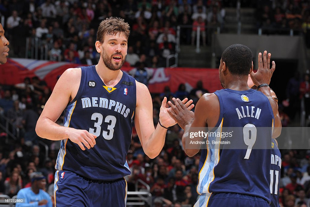 <a gi-track='captionPersonalityLinkClicked' href=/galleries/search?phrase=Marc+Gasol&family=editorial&specificpeople=661205 ng-click='$event.stopPropagation()'>Marc Gasol</a> #33 and <a gi-track='captionPersonalityLinkClicked' href=/galleries/search?phrase=Tony+Allen+-+Basketball+Player&family=editorial&specificpeople=201665 ng-click='$event.stopPropagation()'>Tony Allen</a> #9 of the Memphis Grizzlies celebrates a play against the Los Angeles Clippers at Staples Center on March 13, 2013 in Los Angeles, California.