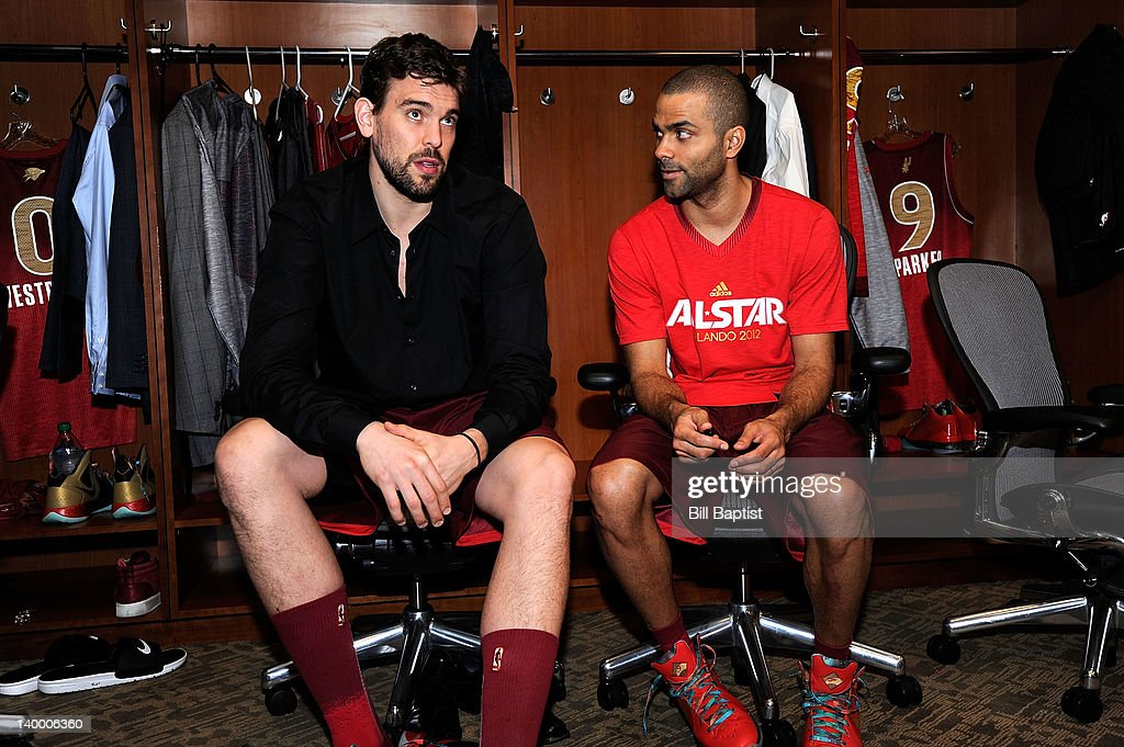 <a gi-track='captionPersonalityLinkClicked' href=/galleries/search?phrase=Marc+Gasol&family=editorial&specificpeople=661205 ng-click='$event.stopPropagation()'>Marc Gasol</a> #33 and Tony Parker #9 of the Western Conference All-Stars sit in the lockerroom prior to the 2012 NBA All-Star Game presented by Kia Motors as part of 2012 All-Star Weekend at the Amway Center on February 26, 2012 in Orlando, Florida.
