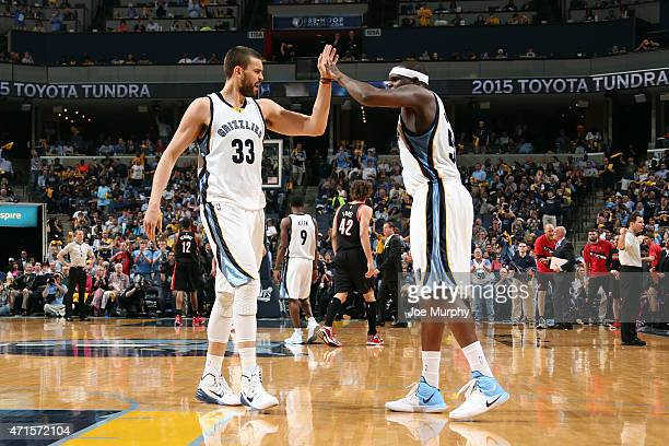 Marc Gasol and Zach Randolph of the Memphis Grizzlies celebrate during a game against the Portland Trail Blazers in Game Five of the Western...