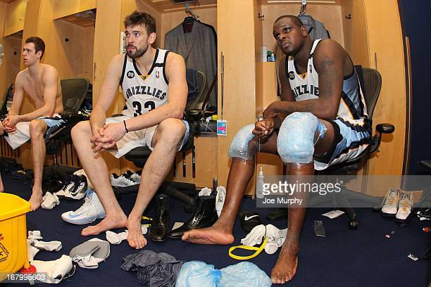 Marc Gasol and Zach Randolph of the Memphis Grizzlies sit in the locker room following their team's series victory against the Los Angeles Clippers...