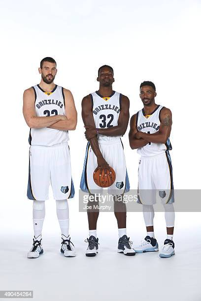 Marc Gasol Jeff Green and Mike Conley of the Memphis Grizzlies poses for a portrait during their 2015 media day at FedExForum on September 28 2015 in...