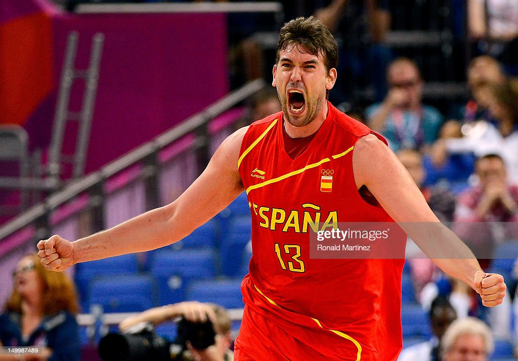 <a gi-track='captionPersonalityLinkClicked' href=/galleries/search?phrase=Marc+Gasol&family=editorial&specificpeople=661205 ng-click='$event.stopPropagation()'>Marc Gasol</a> #13 of Spain reacts late in the fourth quarter against France during the Men's Basketball quaterfinal game on Day 12 of the London 2012 Olympic Games at North Greenwich Arena on August 8, 2012 in London, England.
