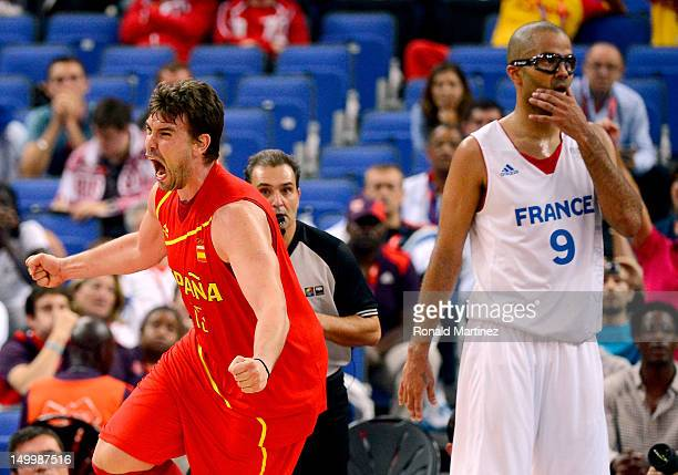 Marc Gasol of Spain reacts late in the fourth quarter alongside Tony Parker of France during the Men's Basketball quaterfinal game on Day 12 of the...