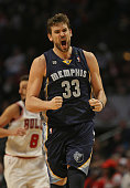 Marc Gasol of the Memphis Grizzles celebrates hitting a shot in overtime against the Chicago Bulls at the United Center on January 19 2013 in Chicago...