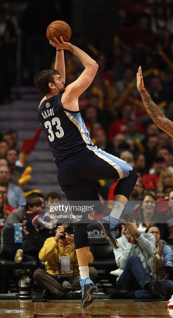 Marc Gasol #33 of the Memphis Grizzles shoots against the Chicago Bulls at the United Center on January 19, 2013 in Chicago, Illinois. The Grizzlies defeated the Bulls 85-82 in overtime.
