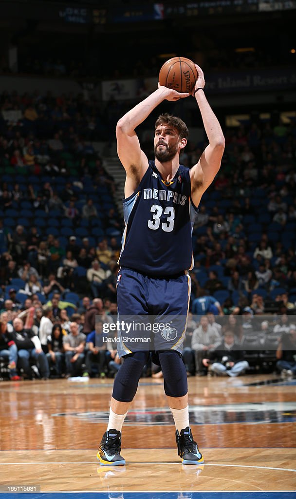 Marc Gasol #33 of the Memphis Grizzlies aims for a free throw during the game between the Memphis Grizzlies and the Minnesota Timberwolves on March 30, 2013 at Target Center in Minneapolis, Minnesota.