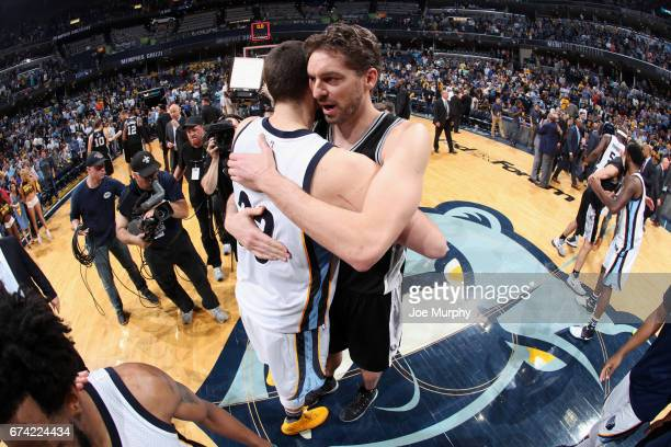 Marc Gasol of the Memphis Grizzlies and Pau Gasol of the San Antonio Spurs hug after Game Six of the Western Conference Quarterfinals of the 2017 NBA...