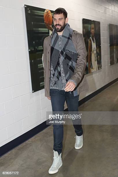 Marc Gasol of the Memphis Grizzlies arrives before the game against the Los Angeles Lakers on December 3 2016 at FedExForum in Memphis Tennessee NOTE...