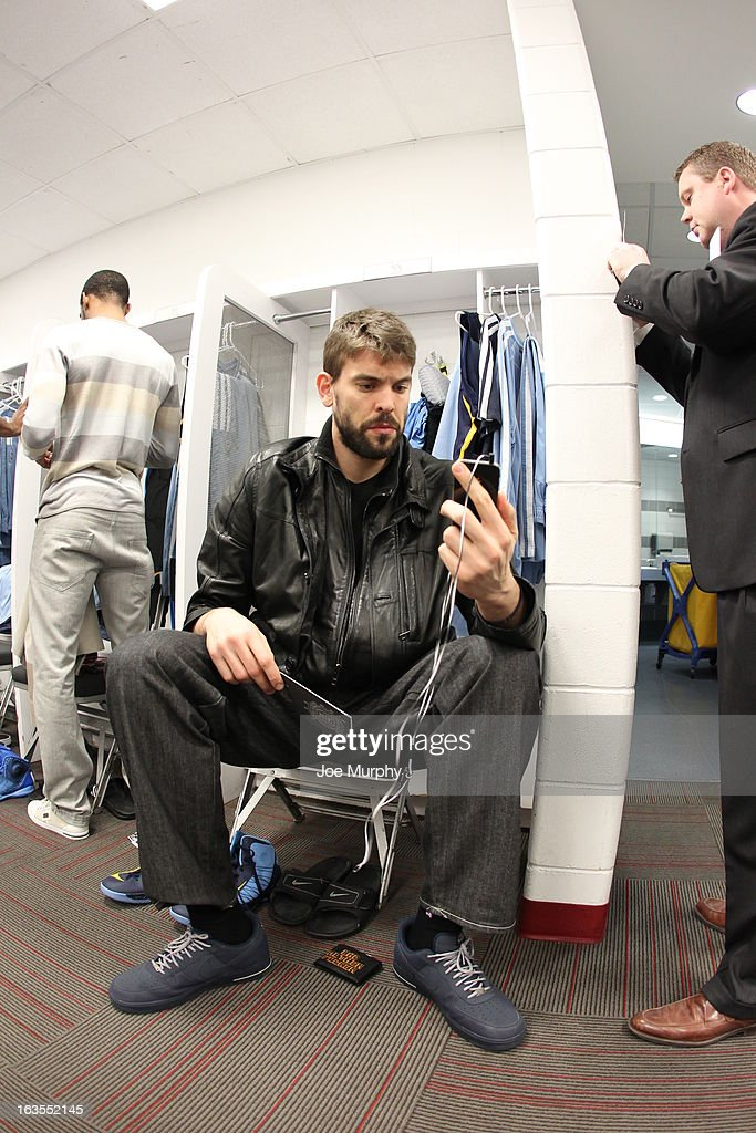 <a gi-track='captionPersonalityLinkClicked' href=/galleries/search?phrase=Marc+Gasol&family=editorial&specificpeople=661205 ng-click='$event.stopPropagation()'>Marc Gasol</a> #33 of the Memphis Grizzlies before the game against the Miami Heat on March 1, 2013 at American Airlines Arena in Miami, Florida.
