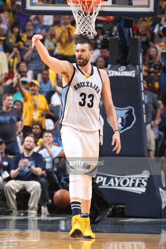 Marc Gasol #33 of the Memphis Grizzlies celebrates a three point basket during Game Three of the Western Conference Quarterfinals against the San Antonio Spurs of the 2017 NBA Playoffs on April 20, 2017 at FedExForum in Memphis, Tennessee.