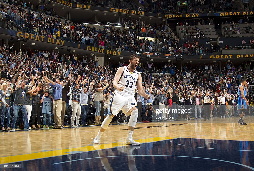 Marc Gasol #33 of the Memphis Grizzlies celebrates after hitting the game winning shot against the Oklahoma City Thunder on March 20, 2013 at FedExForum in Memphis, Tennessee.