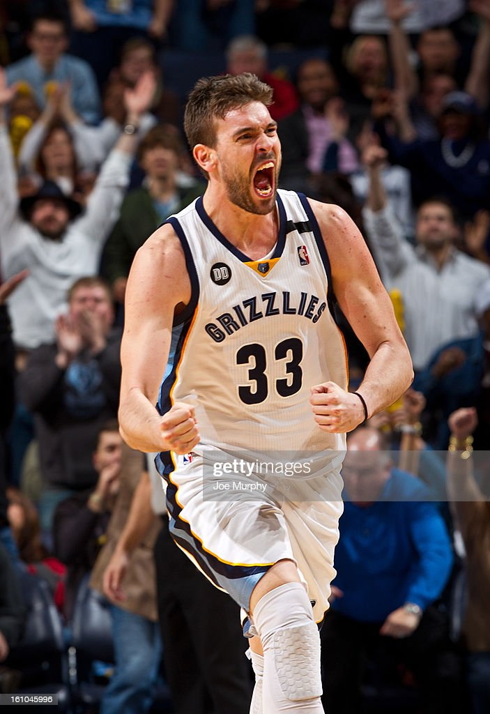 <a gi-track='captionPersonalityLinkClicked' href=/galleries/search?phrase=Marc+Gasol&family=editorial&specificpeople=661205 ng-click='$event.stopPropagation()'>Marc Gasol</a> #33 of the Memphis Grizzlies celebrates during a game against the Golden State Warriors on February 8, 2013 at FedExForum in Memphis, Tennessee.