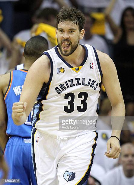 Marc Gasol of the Memphis Grizzlies celebrates during the game against the Oklahoma City Thunder in Game Four of the Western Conference Semifinals in...
