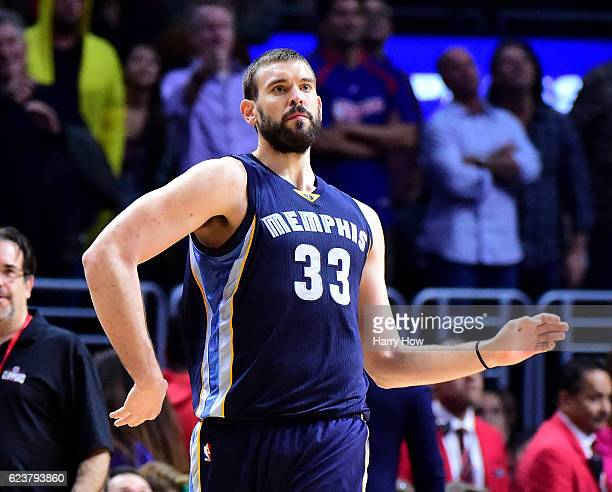 Marc Gasol of the Memphis Grizzlies celebrates his three point basket for a lead over the LA Clippers during the final seconds of the fourth quarter...