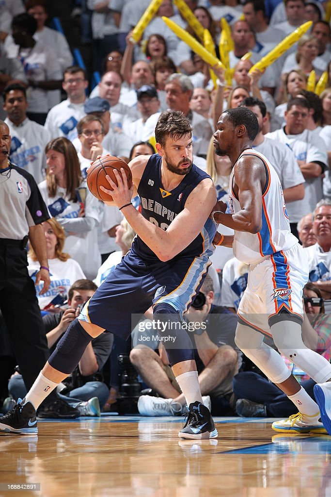 Marc Gasol #33 of the Memphis Grizzlies controls the ball against Kevin Durant #35 of the Oklahoma City Thunder in Game Five of the Western Conference Semifinals during the 2013 NBA Playoffs on May 15, 2013 at the Chesapeake Energy Arena in Oklahoma City, Oklahoma.