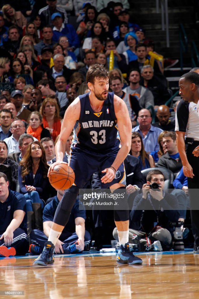 Marc Gasol #33 of the Memphis Grizzlies dribbles the ball looking to pass against the Oklahoma City Thunder during an NBA game on January 31, 2013 at the Chesapeake Energy Arena in Oklahoma City, Oklahoma.