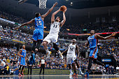Marc Gasol of the Memphis Grizzlies drives to the basket against Kevin Durant of the Oklahoma City Thunder during Game Six of the Western Conference...