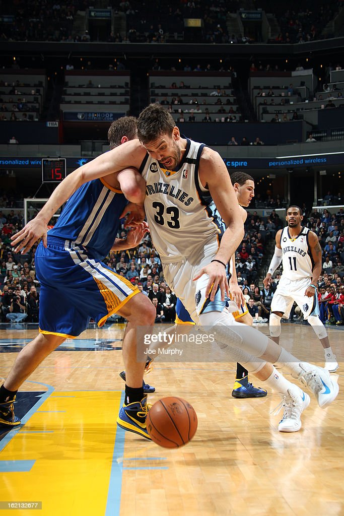 <a gi-track='captionPersonalityLinkClicked' href=/galleries/search?phrase=Marc+Gasol&family=editorial&specificpeople=661205 ng-click='$event.stopPropagation()'>Marc Gasol</a> #33 of the Memphis Grizzlies drives to the basket against the Golden State Warriors on February 8, 2013 at FedExForum in Memphis, Tennessee.