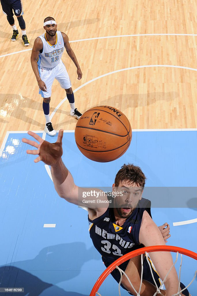 <a gi-track='captionPersonalityLinkClicked' href=/galleries/search?phrase=Marc+Gasol&family=editorial&specificpeople=661205 ng-click='$event.stopPropagation()'>Marc Gasol</a> #33 of the Memphis Grizzlies drives to the basket against the Denver Nuggets on March 15, 2013 at the Pepsi Center in Denver, Colorado.
