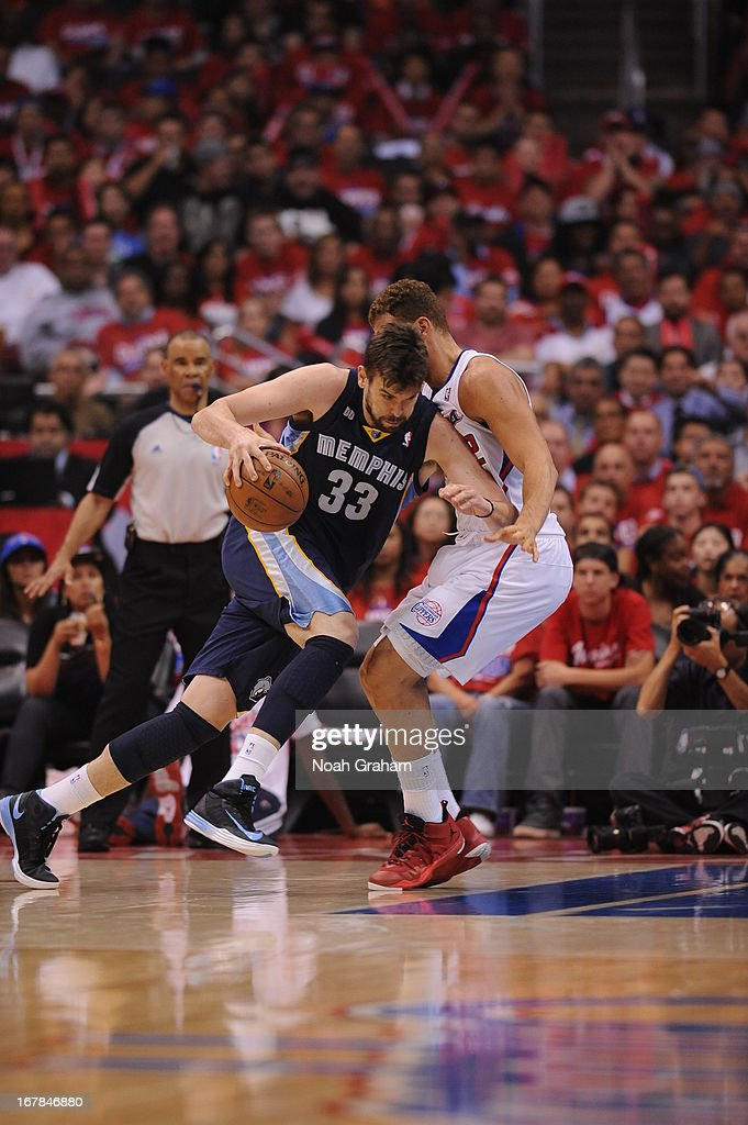 Marc Gasol #33 of the Memphis Grizzlies drives to the basket against the Los Angeles Clippers at Staples Center in Game Five of the Western Conference Quarterfinals during the 2013 NBA Playoffs on April 30, 2013 in Los Angeles, California.