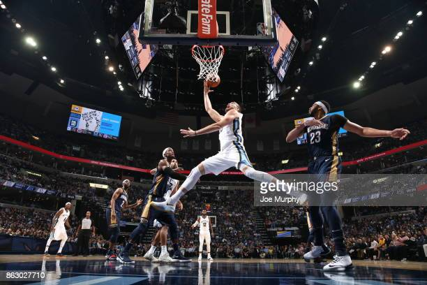 Marc Gasol of the Memphis Grizzlies drives to the basket against the New Orleans Pelicans during the 201718 regular season game on October 18 2017 at...