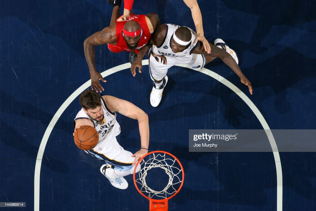 Marc Gasol #33 of the Memphis Grizzlies dunks against Reggie Evans #30 of the Los Angeles Clippers in Game Seven of the Western Conference Quarterfinals during the 2012 NBA Playoffs on May 13, 2012 at FedExForum in Memphis, Tennessee.