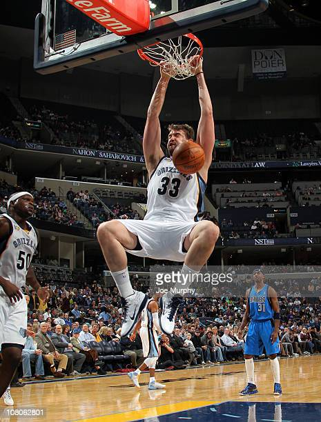 Marc Gasol of the Memphis Grizzlies dunks against the Dallas Mavericks on January 15 2011 at FedExForum in Memphis Tennessee NOTE TO USER User...