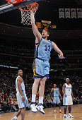Marc Gasol of the Memphis Grizzlies dunks against the Denver Nuggets on February 22 2011 at the Pepsi Center in Denver Colorado NOTE TO USER User...