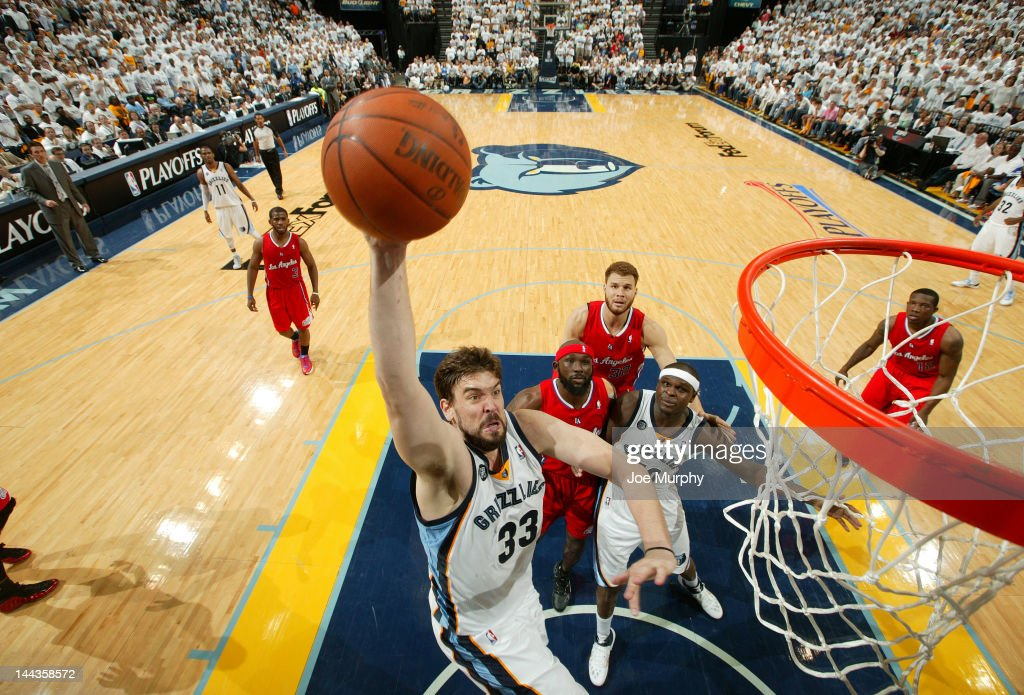 Marc Gasol #33 of the Memphis Grizzlies dunks against the Los Angeles Clippers in Game Seven of the Western Conference Quarterfinals during the 2012 NBA Playoffs on May 13, 2012 at FedExForum in Memphis, Tennessee.