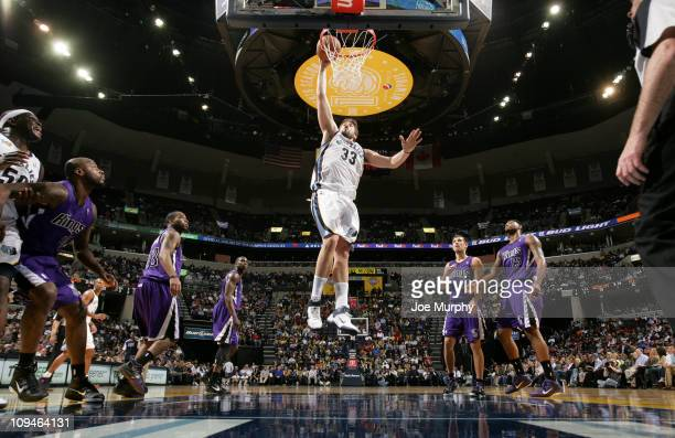 Marc Gasol of the Memphis Grizzlies dunks against the Sacramento Kings on February 26 2011 at FedExForum in Memphis Tennessee NOTE TO USER User...
