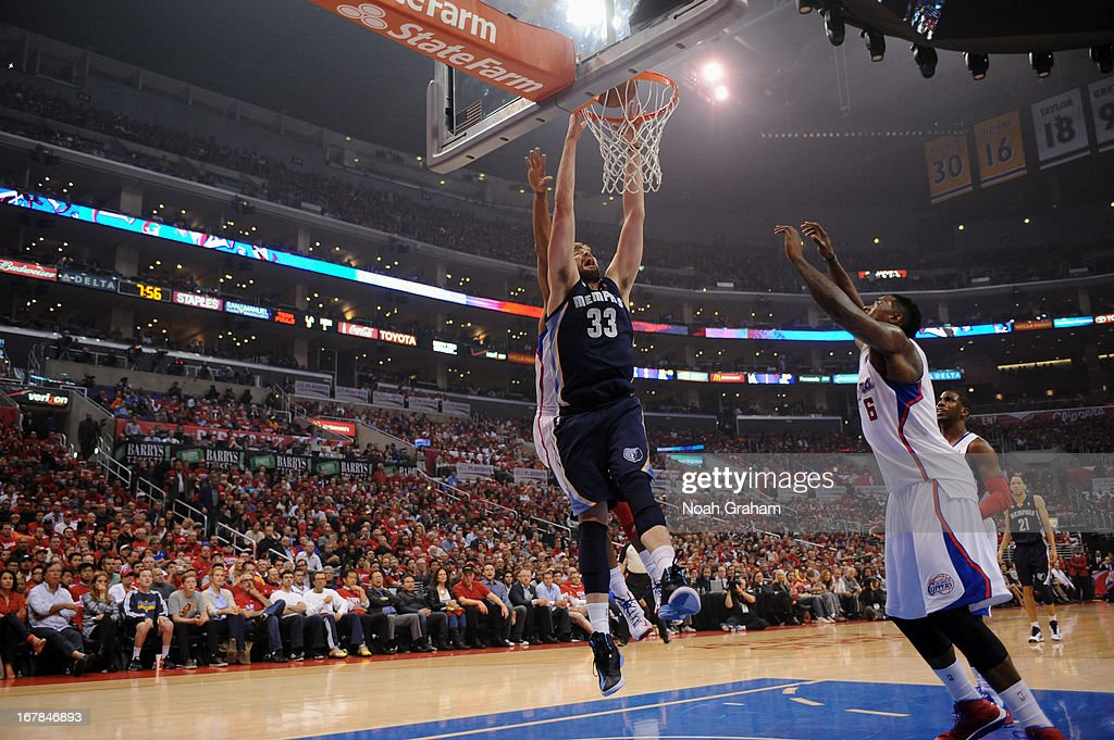 <a gi-track='captionPersonalityLinkClicked' href=/galleries/search?phrase=Marc+Gasol&family=editorial&specificpeople=661205 ng-click='$event.stopPropagation()'>Marc Gasol</a> #33 of the Memphis Grizzlies dunks the ball against the Los Angeles Clippers at Staples Center in Game Five of the Western Conference Quarterfinals during the 2013 NBA Playoffs on April 30, 2013 in Los Angeles, California.